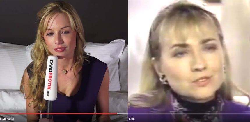 Hillary Clinton (left in 1992) - Kayden Kross (pornstar 2015) - notice how they 2 women have the exact same face shape and expression