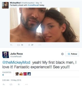 Does Julia Roca know that Mickey Mod isn't only her first Black man, he also might be her first high HIV risk scene partner considering that he works with both gay and straight pornstars (the gay side of the porn industry is heavily populated with HIV positive performers)