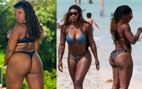 pornstar Vanessa Blue (left) and sports legend Serena WIlliams (right - front and back)