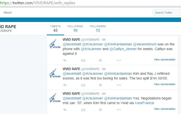 Twitter account @Vividrape outlining alleged details about Kris Jenner negotiating a sale of her daughter Kim Kardashian's sextape to Vivid