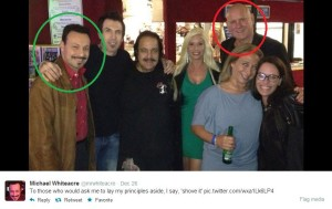 Ari Scott Bass aka Michael Whiteacre (circled in green) - Dennis Hof (circled in red)