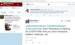 Marc Randazza supporter & known stalker Tristan Stadtmuller has made it clear that the frivilous & fraudulent lawsuit filed against Alexandra Mayers accusing her of defaming Marc's wife Jennifer, in actuality is a means to target her on behalf of a multitude of individuals attached to pornography & organized crime who Alexandra has documented on her websites.