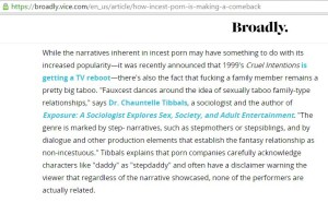 """Dr. Chauntelle Tibbals appears to be incapable of telling the cold hard truth about incest in the porn industry. It's not """"Faux"""" or fake Dr. Chauntelle... it's very very very real."""