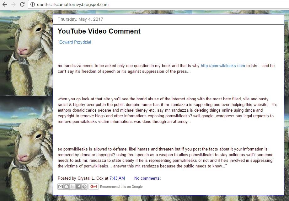eddie Przydzial youtube comment Pornwikileaks victim