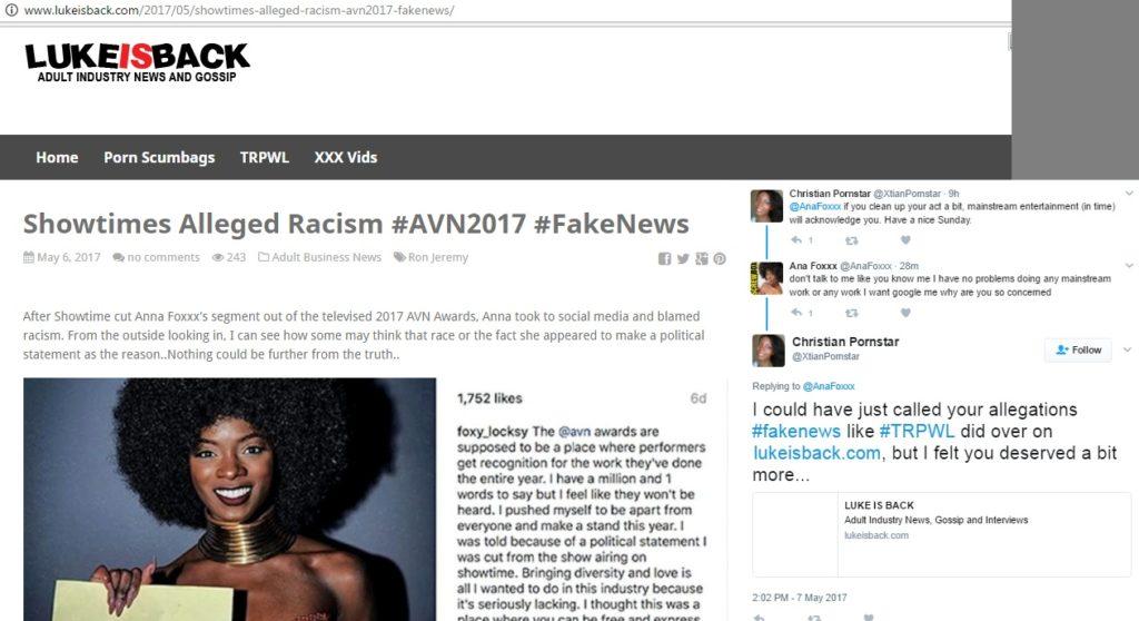 ana foxxx fake news lukeisback trpwl sean matthew tompkins racism showtime