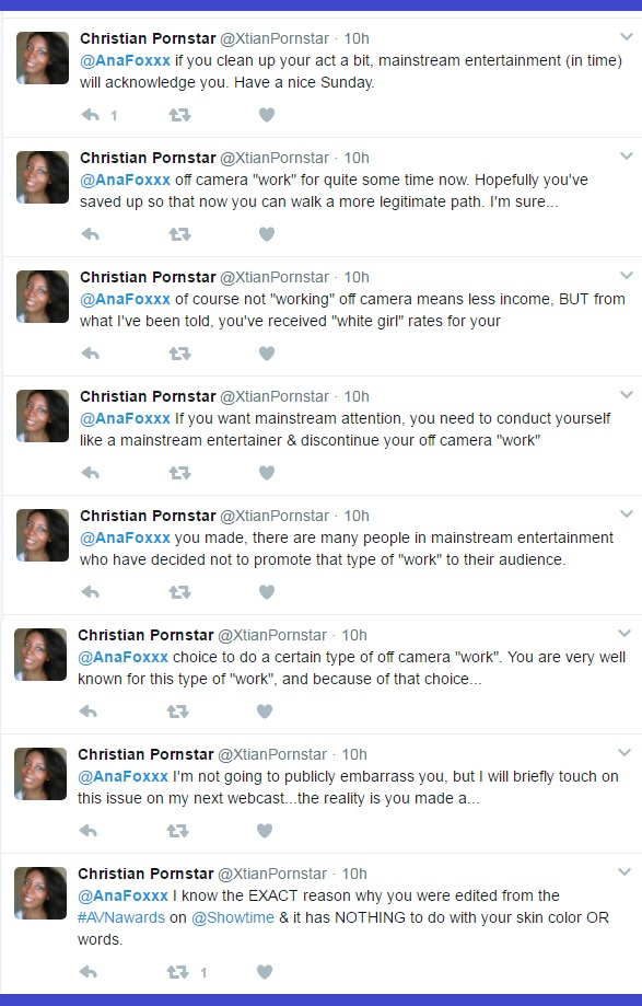 Read these tweets to Ana Foxxx from the bottom up. No one knows better the REALITY of racism in (and attached to) the pornographic industry quite like @XtianPornstar aka Alexandra Mayers fka Monica Foster (and her family - the hate crime that is Pornwikileaks is the evidence).