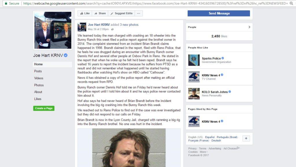 Brian Brandt rape allegations against Dennis Hof of the Bunny Ranch Legal brothel